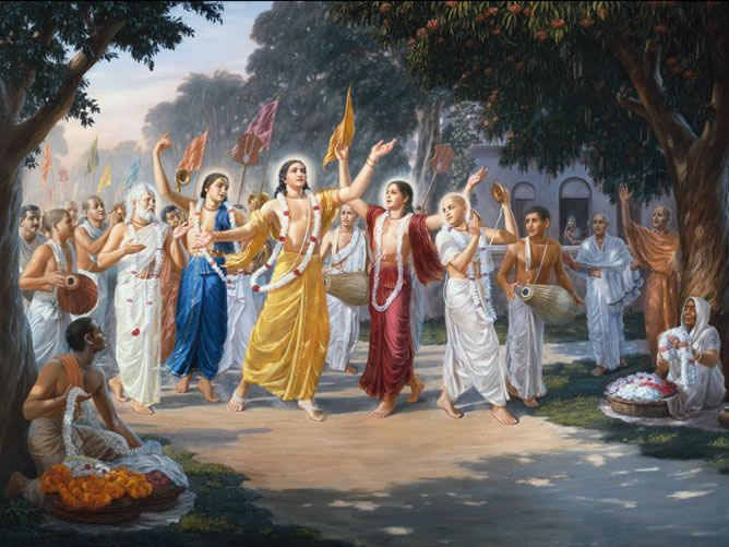 Sri Chaitanya Mahaprabhu leads Sri Hari-nam-sankirtan in Sri Nabadwip Dham